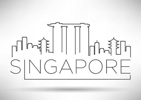 singapore city: Singapore City Line Silhouette Typographic Design