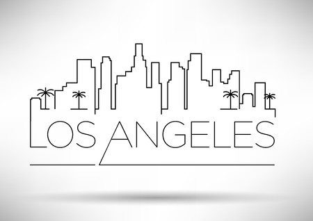 los angeles city line silhouette typographique conception illustration