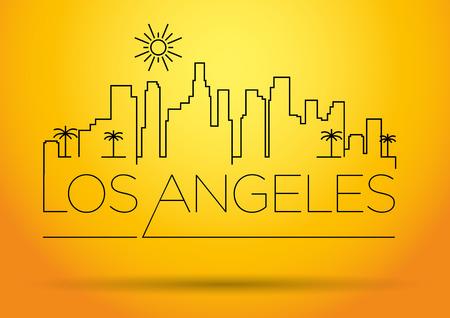 los angeles: Los Angeles City Line Silhouette Typographic Design- Illustration
