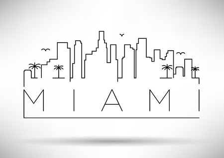 Miami City Line Silhouette Typographic Design Stock fotó - 36850419