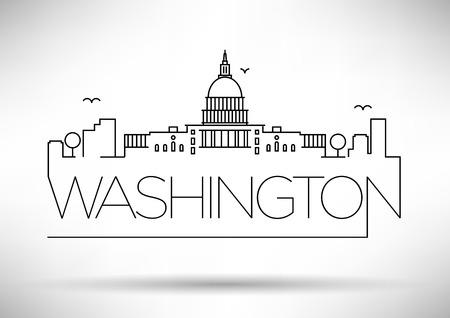 Washington DC City Line Silhouet Typografische Vormgeving Stock Illustratie