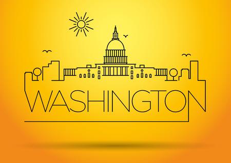 Washington D.C. City Line Silhouette Typographic Design