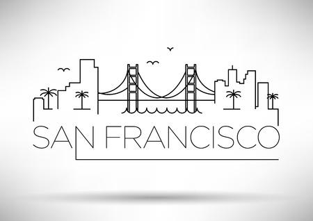 San Francisco City Line Silhouette Typographic Design