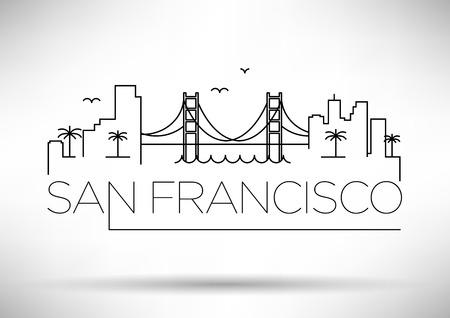 San Francisco City Line Silhouette Typographic Design