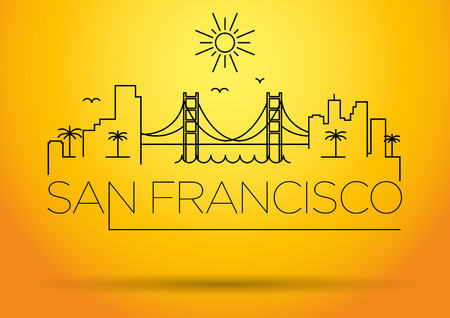 francisco: San Francisco City Line Silhouette Typographic Design