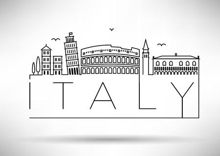 Italy Line Silhouette Typographic Design Vettoriali