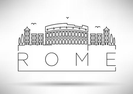 Rome City Line Silhouet Typografische Vormgeving Stock Illustratie