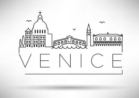 Venice City Line Silhouette Typographic Design Illustration