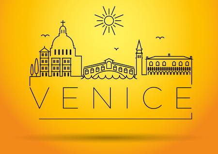 rialto: Venice City Line Silhouette Typographic Design Illustration