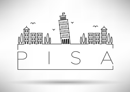 pisa: Pisa City Line Silhouette Typographic Design