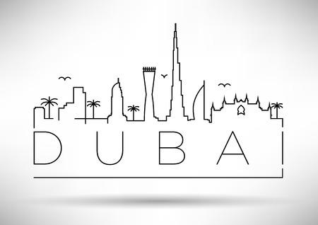 Dubai City Line Silhouette Typographic Design Illustration