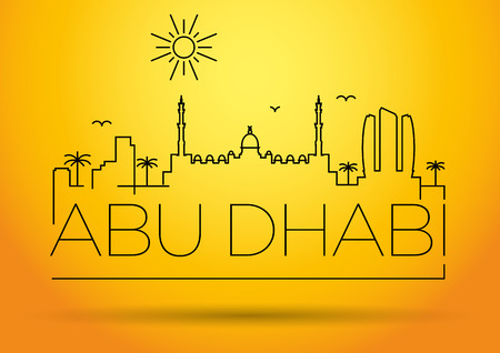 sultan: Abu Dhabi City Line Silhouette Typographic Design Illustration