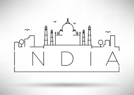 india city: India City Line Silhouette Typographic design Vettoriali