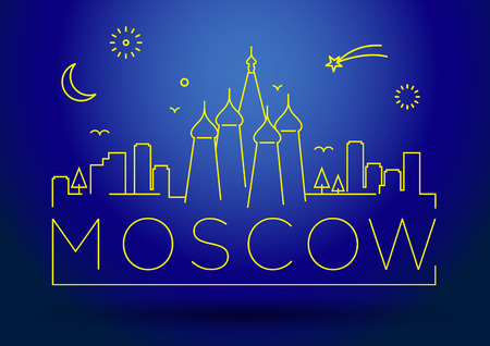 moscow city: Moscow City Line Silhouette Typographic Design
