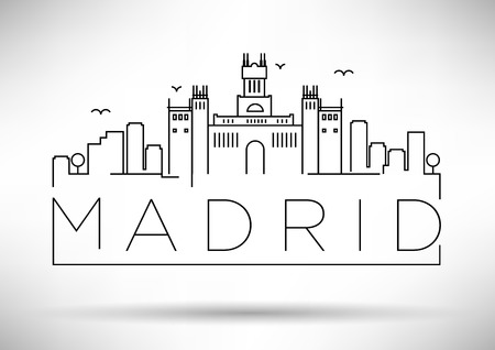 madrid spain: Madrid City Line Silhouette Typographic Design Illustration