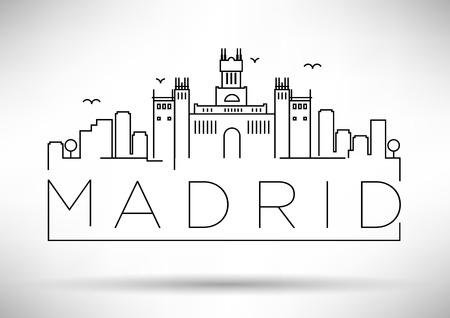 Madrid City Line Silhouette Typographic Design Иллюстрация
