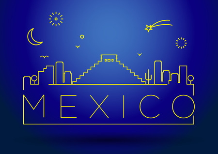 itza: Mexico City Line Silhouette Typographic Design Illustration