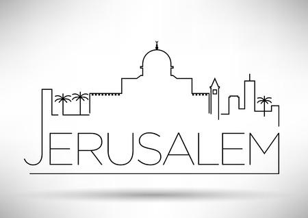 Jerusalem City Line Silhouette Typographic Design  イラスト・ベクター素材