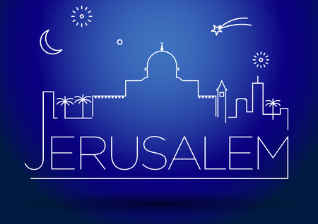israel jerusalem: Jerusalem City Line Silhouette Typographic Design Illustration