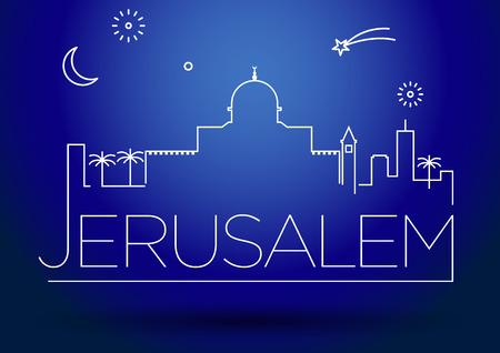 jeruzalem: Jeruzalem City Line Silhouet Typografische Vormgeving