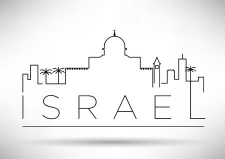 イスラエルの都市ライン シルエット タイポグラフィ デザイン