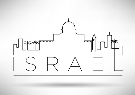 Israel City Line Silhouette Typographic Design Illustration