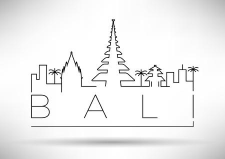 Bali City Line Silhouette Typographic Design Stock fotó - 36850248