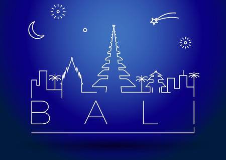 far east: Bali City Line Silhouette Typographic Design