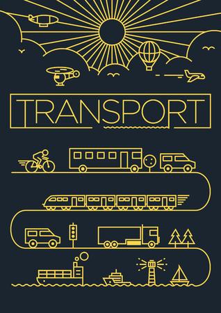 транспорт: Транспортные средства Линейный векторный дизайн