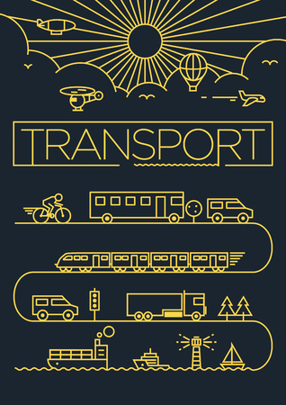 transporte: Transporte Veículos Linear Desenho vetorial Ilustração