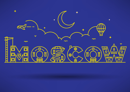 moscow city: Moscow City Typography Design with Building Letters
