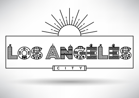 angeles: Los Angeles City Typography Design with Building Letters Illustration