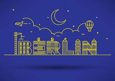 house under construction: Berlin City Typography Design with Building Letters Illustration