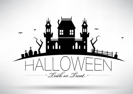 house at night: Typographic Halloween Vector Design Illustration