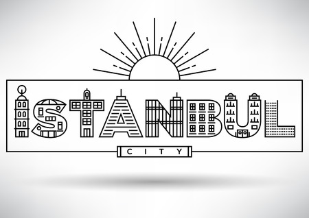 house under construction: Istanbul City Typography Design with Building Letters Illustration