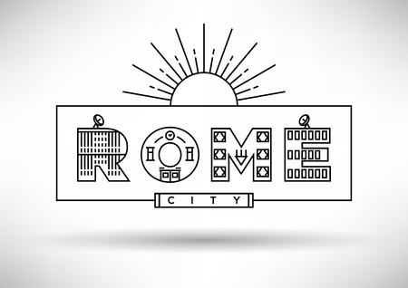 house under construction: Rome City Typography Design with Building Letters