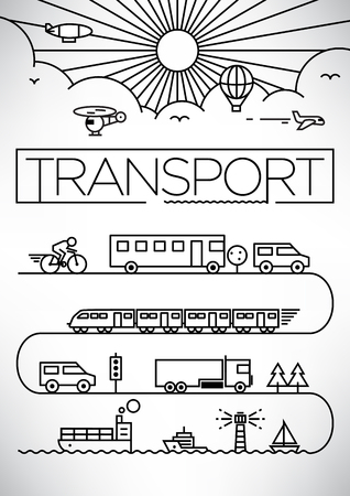 lijntekening: Transport Vehicles Linear Vector Design Stock Illustratie