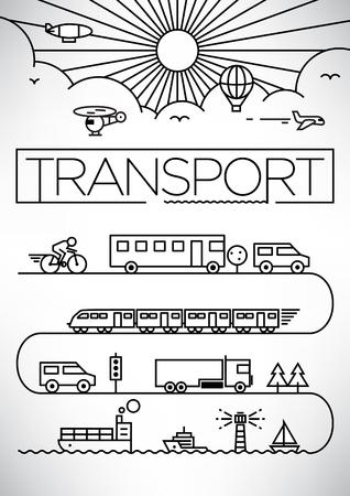 line drawing: Transportation Vehicles Linear Vector Design