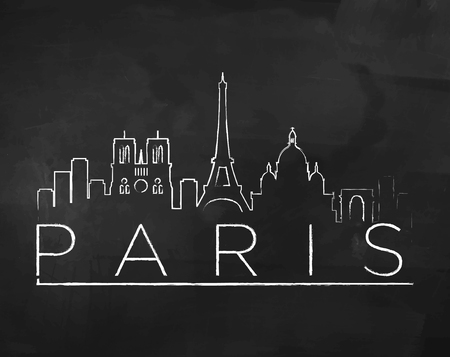 chalk drawing: Paris City Skyline with Chalk Drawing on a Blackboard