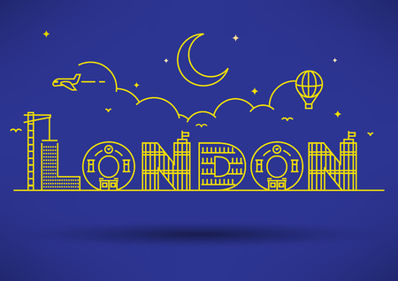 new england: London City Typography Design with Building Letters