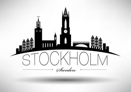 stockholm: Stockholm Skyline with Typographic Design Illustration