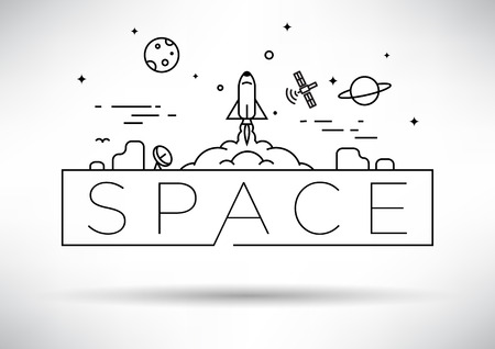 line drawing: Spaceship Linear Vector Design Illustration