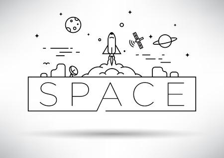 Spaceship Linear Vector Design Ilustração