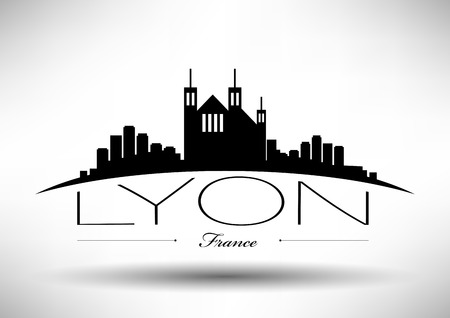 country church: Lyon Skyline with Typographic Design