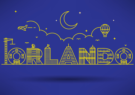 orlando: Orlando City Typography Design with Building Letters