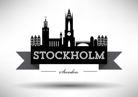 country church: Stockholm Skyline with Typographic Design Illustration