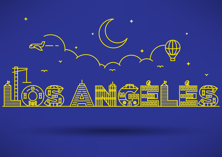 los: Los Angeles City Typography Design with Building Letters Illustration