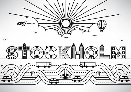 Stockholm City-Typografie-Entwurf mit Gebäude Letters