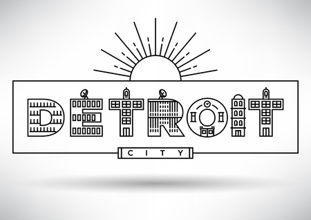 house under construction: Detroit City Typography Design with Building Letters Illustration