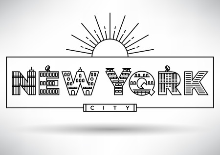 house under construction: New York City Typography Design with Building Letters Illustration